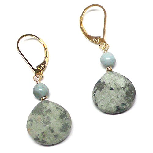 iolette Lever Back Earrings Peruvian Green Stone Gold-Filled ()