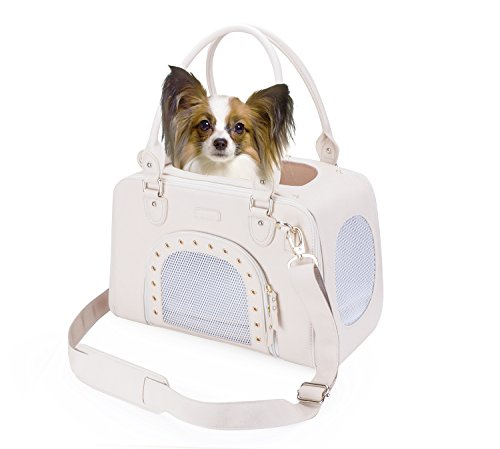 PetsHome Dog Carrier Purse, Pet Carrier, Cat Carrier, Foldable Waterproof Premium Leather Pet Travel Bag Carrier with Shoulder Strap for Cat and Small Dog Home & Outdoor Small Beige