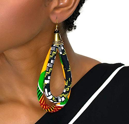 orange ketepa print earrings black kentePrint Earrings green Big Earrings African Hoop Earrings Large kente Print Earrings