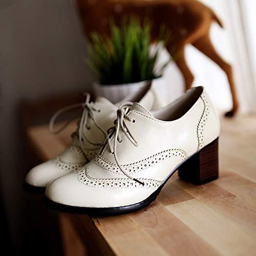 Moyen Lacets Derbies Confort Montante Chaussures Bottines Talon Chaussures Cuir Lacets Ville Brogue Talon Beige de Bloc A à wealsex wxqp81fI1