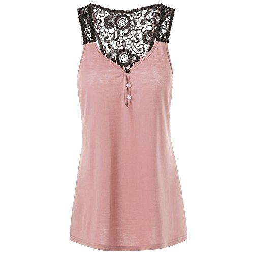 aihihe Womens Lace Plus Size Patchwork Backless Button Blouse Casual Summer Top Shirt Crop Tank Vest(Pink,XXXL)