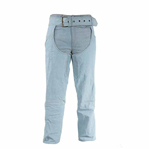 Ultimate Leather Apparel Denim Look Genuine Leather Chaps Covered Zipper Gathered Thigh Fitting L Blue