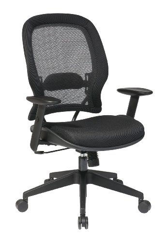 SPACE Seating Professional AirGrid Back and Mesh Seat, 2-to-1 Synchro, Adjustable Arms and Tilt Tension Task Chair, Dark Grey by Space Seating