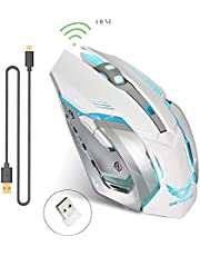 Rechargeable 2.4Ghz Wireless Gaming Mouse with USB Receiver,7 Colors Backlit for MacBook, Computer PC, Laptop (600Mah Lithium Battery)-White