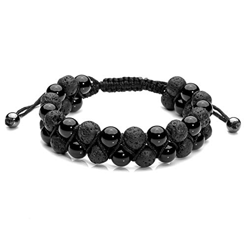 Jovivi Mens Lava Rock Stone Essential Oil Bracelet Black Agate Beads Double Layer Bracelets Macrame Adjustable Braided