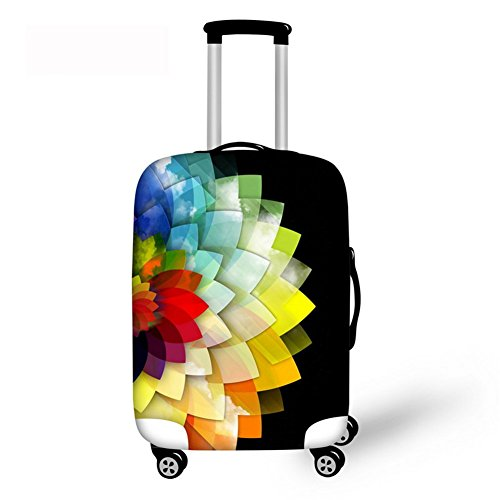 Best Geometry Flower Floral Printed Travel Luggage Cover Suitcase Protective Covers Bottom Zipper Closer Fit Small