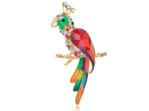 Alilang Golden Tone Rainbow Rhinestone Enamel Tropical Parrot Bird Brooch Pin