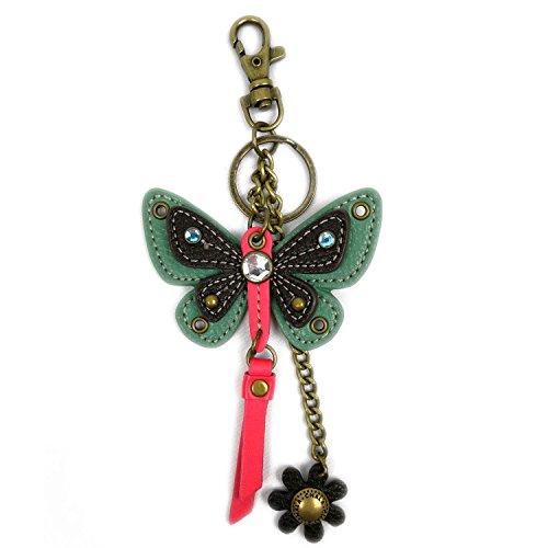 CHALA Decorative Key-Fob/Purse Charm for Handbags (Mini Teal Butterfly)