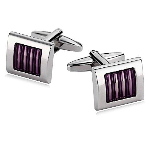 l Cuff Links for Mens Square Stripe Lines Epoxy Purple ()