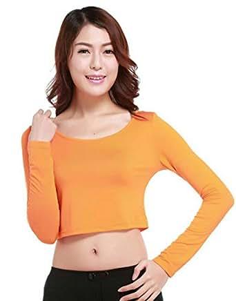 Orange Round Neck Crop Top For Women