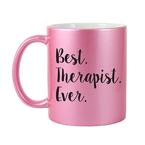 - Mama Birdie Best Therapist Ever Coffee Cup/Tea Mug - Script Print (Glitter Pink)