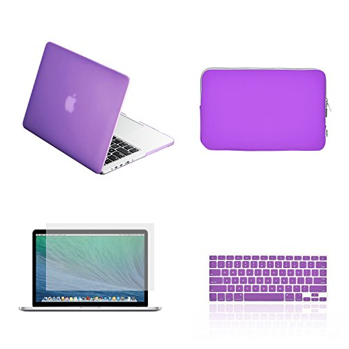 TOP CASE 4 in 1 - Rubberized Hard Case + Zipper Sleeve Bag + Keyboard Cover + Screen Protector Compatible with Apple MacBook Pro 13