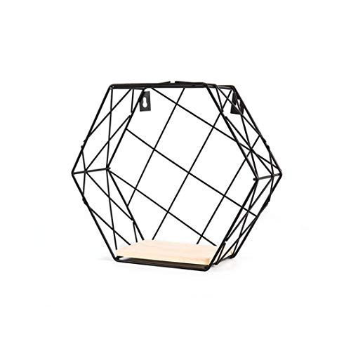 Hemp Rope Partition Innovative Wall Hanging Shelf Organizer Hexagonal Iron Shelf Decoration Bathroom Home Shelf Etagere Grid Black M by YU-Bathroom (Image #1)