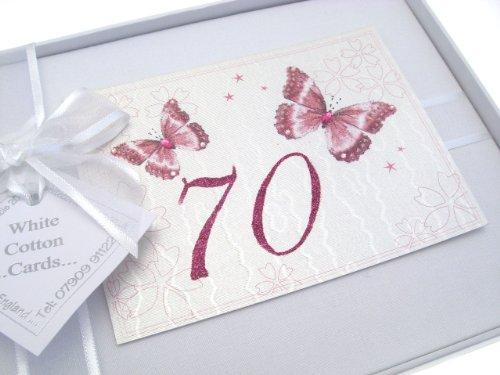 [해외]백색 면 카드 70 생일 사진 앨범 작은 나비 / White Cotton Cards 70th Birthday Photo Album Small Butterfly