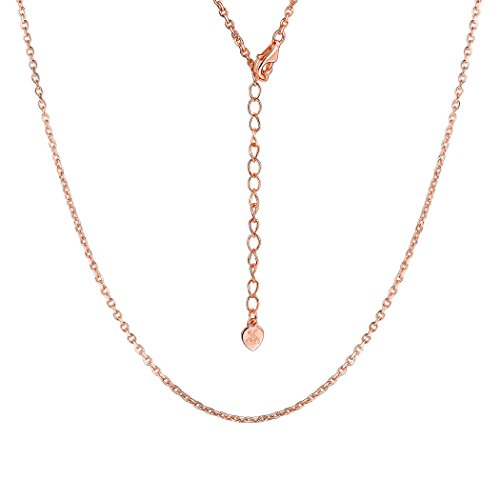 Chain 1.5mm Rose Gold Sterling Silver Dainty Necklace Nickel Free Pendant's Chain for Women Girls, 22