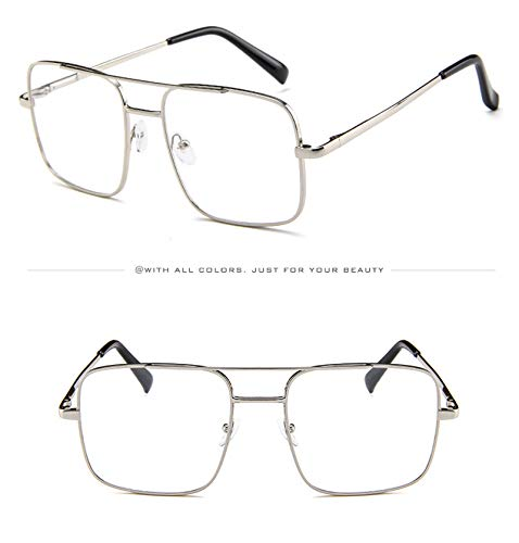 Protection Metal Square for Sheet Lens Eyewear with Trendy Big Frame Sunglasses Outdoor Sports Holiday Square Ocean Beam white UV Spring Silver glasses Leg Sunglasses Double Sun Sunglasses Travel EB7paq