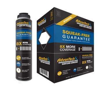 AdvanTech Subfloor Adhesive   Polyurethane Construction Adhesive   8X More Coverage   Squeak Free Guarantee   Includes (6) 24 oz. cans