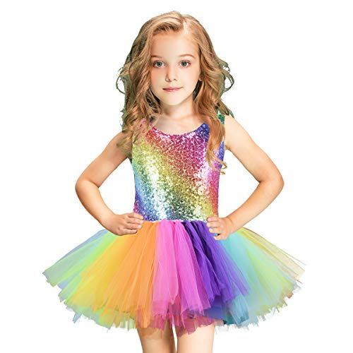 Rainbow Dresses For Toddlers (Unicorn Girl Sequin Dress Handmade Toddler Rainbow Dress Party, Halloween, Special Occasion with Bow)
