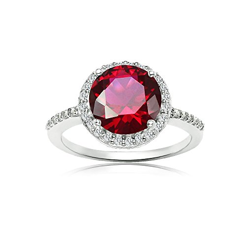 Ice Gems Sterling Silver Simulated Ruby and Cubic Zirconia Round Halo Ring, Size 6