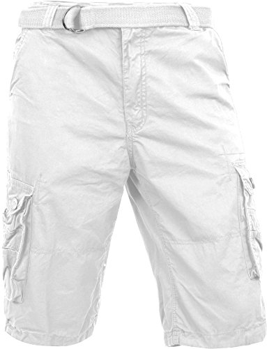 Double Cargo Pocket Short - Hat and Beyond Mens Premium Cargo Shorts with Belt Outdoor Twill Cotton Loose Fit Multi Pocket Pants (34, 1MP0001_White)