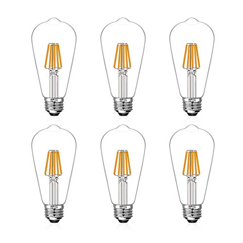 LED Edison Light Bulbs 60W Equivalent Halogen Replacement Dimmable E26 Base Vintage Filament Pendant Light Bulbs 2200K Warm White 6W UL-Listed Commercial Island Light Bulbs with 600lm 6 Pack by COOWOO (Light Pendant Bulbs Halogen)