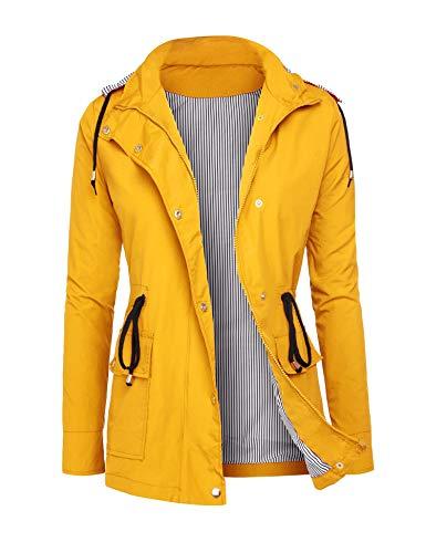 RAGEMALL Women's Raincoats Windbreaker Rain Jacket Waterproof Lightweight Outdoor Hooded Trench Coats Yellow XL (Best Outdoor Coats For Women)