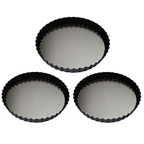 Quiche Pans, Yamix 3Pcs Set Non-stick Quiche Tart Pan, Tart Pie Pan, Round Tart Quiche Pan With Removable Bottom(7.9'',9.4'',11'') by Yamix