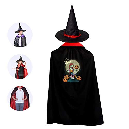 Kids Halloween Sally and Pumpkin Halloween Costume Cloak for Children Girls Boys Cloak and Witch Wizard Hat for Boys Girls Red ()