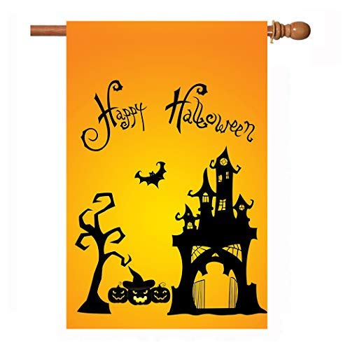 W&X Halloween Garden Flags,Halloween Flags 28 x 40 Inch Double Sided Happy Halloween Alphabet, Halloween Pumpkin, Bat, House, Tree on Flag Best Halloween Decorations 1 Pack ()