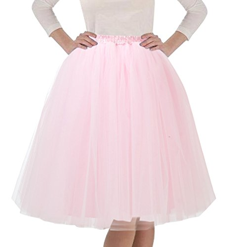 Pink Tulle Layered Tutu (Quesera Women's Layered Tutu A Line Knee Length Elastic Waistband Puffy Tulle Skirt,Pink,Free size fit in 2-12)