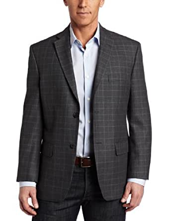 Haggar Men's 2 Button Textured Herringbone Center Vent Sport Coat, Gray, 42 L