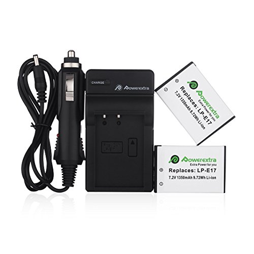 Price comparison product image Powerextra 2 Pack Replacement Canon LP-E17 Battery With Charger Fully Decoded for Canon EOS Rebel T6i,  Rebel T6s,  Rebel T7i,  750D,  760D,  8000D,  Kiss X8i,  800D,  77D,  200D,  EOS SL2 Camera- Upgraded