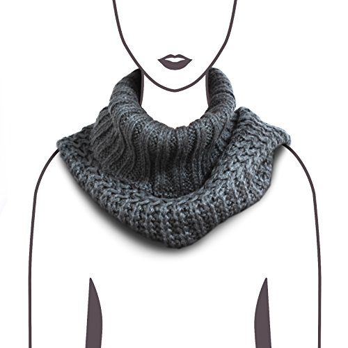 HappyTree Women Hot Fashion Knitted Winter Infinity Cowl Scarf Grey