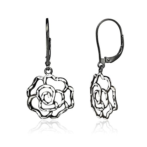 Black Flashed Sterling Silver Two-Tone Diamond-cut Rose Flower Dangle Leverback ()