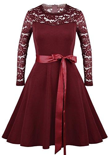 Vessos Damen SpitzeKleid Cocktailkleider Abendkleider knielang elegant Partykleid mit O-Neck Kurzarm Spitze Vintage festlich Hochzeit S-XXL Weinrot