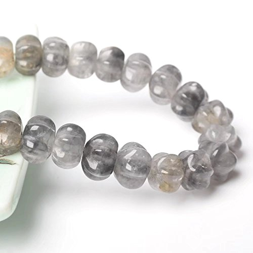 (Halloween Pumpkin Charm Beads Findings Materials for DIY Jewelry Craft Making Genuine Cloudy Quartz 12mm Beads Supply One Strand 9 Inch Apx 29 Pcs)