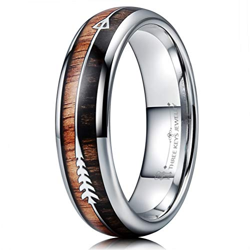 - THREE KEYS JEWELRY 6mm Silver Tungsten Wedding Ring with Koa Wood Zebra Wood Two Arrows Inlay Dome Hunting Ring Wedding Band Engagement Ring Size 8.5