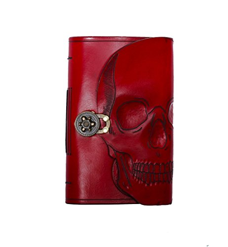 Hand carved and tooled blood red skull large leather journal by Skrocki Designs: fine leather and artisan jewelry