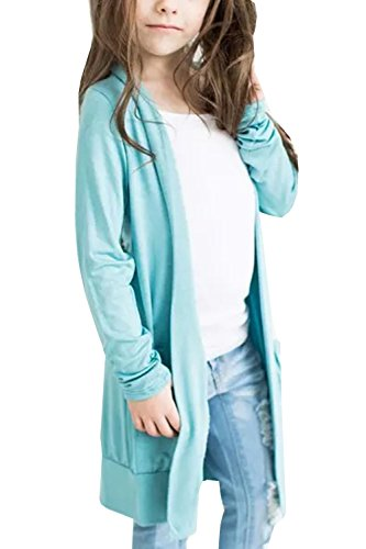 Geckatte Toddler Girls Boyfriend Cardigan Open Front Long Sleeve Knit Sweater with Pockets (Girls Cardigan Long)
