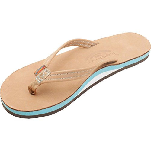 Tropics Rainbow Strap Flip Women's Flops Blue Nubuck Ocean Leather Narrow The 4Yrx7wEq4