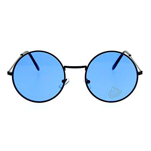 SA106 Retro Vintage Flat Color Circle Round Lens Sunglasses Black - Round Lenses Sunglasses