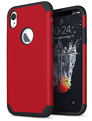 Cover Dual - IDWELL iPhone XR Case Red, Slim Fit [ Dual Layer Series ] Soft Silicone & Hard Back Cover Bumper Protective Shock-Absorption & Skid-Proof Anti-Scratch Case for Apple iPhone XR 6.1 Inch, Red + Black