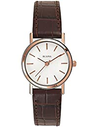 Women's 98V31 Stainless Steel Watch With Brown Leather Band