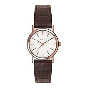 Bulova Women's 98V31 Stainless Steel Watch With Brown Leather Band