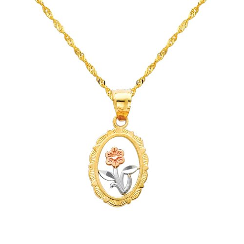 3 Color Gold Polished Flower Charm Pendant with 1.2mm Singapore Chain Necklace - 22