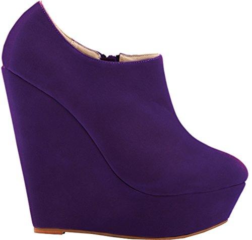 Fashion Pumps Womens Closed High Platform Nubuck Night Party Heel Wedges Club Purple Toe Salabobo Sexy Heighten 6EdFEq