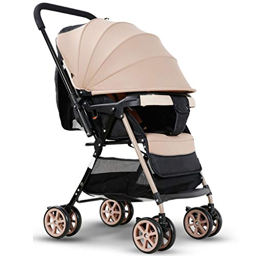 King Boutiques Folding Stroller Two-Way High Landscape Ultra Light Baby Stroller can Sit Reclining Folding Shock Absorber Baby Stroller Travel System (Color : Brown)