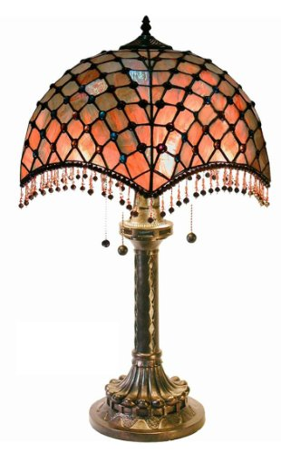Warehouse of Tiffany BB565-2194 Tiffany-style Amber Beaded Table Lamp, Amber