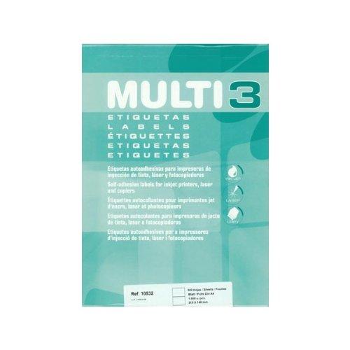 Etiquetas Adhesivas Multi3 Para Inkjet Laser Y Fotocopiadoras Cantos Rectos 500 Hojas 210 X 148mm