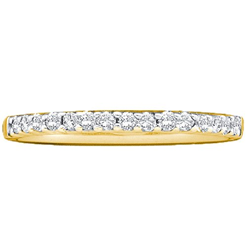 14kt Yellow Gold Womens Round Diamond Slender Stackable Wedding Band 1/6 Cttw by JawaFashion